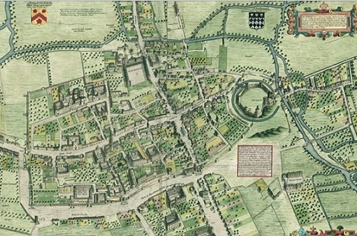 An engraving (1728) of Ralph Agas' map of Oxford, of 1578