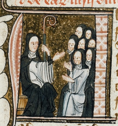 An abbess and her nuns, BL Royal MS 6 E VI f.27