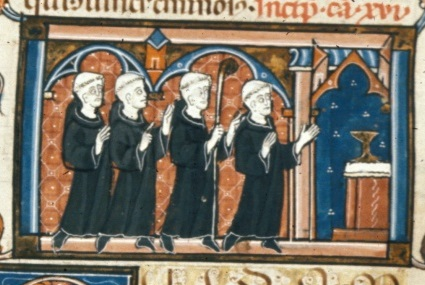Miniature of abbot and monks, BL Royal MS 10 D VIII f.180v