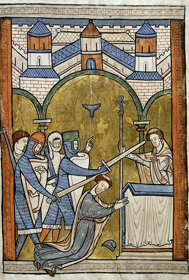 The murder of Thomas Becket, BL Harley 5102 f.32