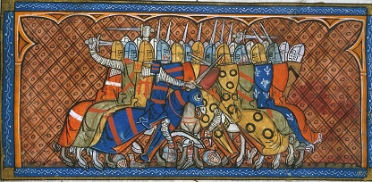 Image showing battle of Bouvines, from BL Royal MS 16 G VI f.379