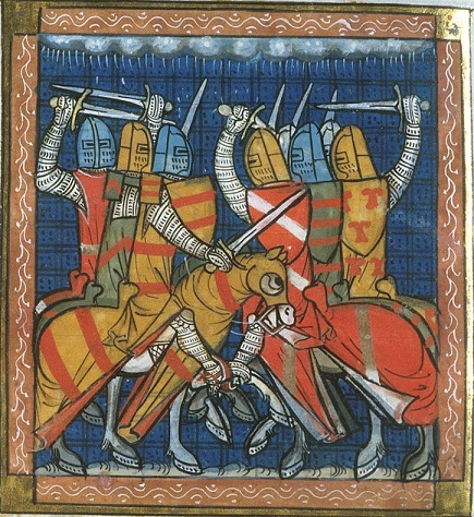 A cavalry encounter at the Battle of Bouvines, BL Royal 16 G VI f.380v