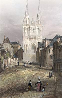 Cathedral of St Maurice, Angers, engraved 1856