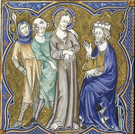 Image of Christ before Pontius Pilate, BL Arundel MS 83 f.125