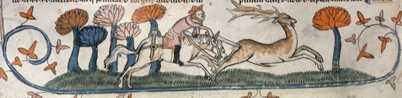 A king stabbing a hart with his sword, BL Royal MS 10 E IV f.254v