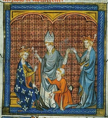 Philip Augustus and Henry II take the cross, BL Royal 16 G VI f.344v