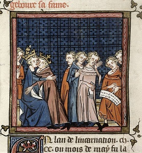 An image showing King John and Philip Augustus making peace, from BL Royal MS 16 G VI f.362