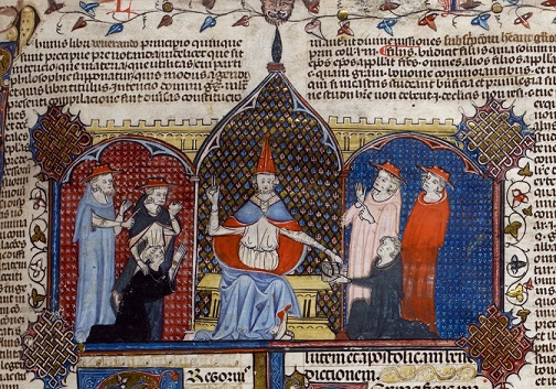 Pope and cardinals, BL Royal 10 E IV f.4