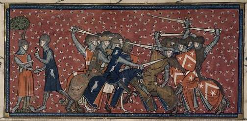Prisoner taken in battle by the hero Roland, BL Royal MS 16 G VI f.178v