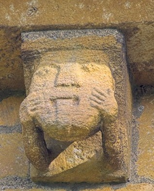 Twelfth-century corbel from St Mary's church, Temple Guiting