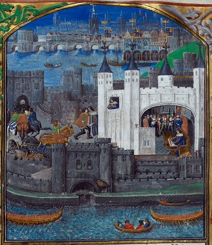 Miniature showing Tower of London, from BL Royal MS 16 F II f.74
