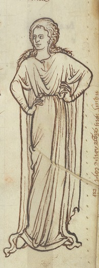 Drawing of a woman in John of Salisbury's Policraticus (late 12th century), BL Royal MS 12 F VIII f.62
