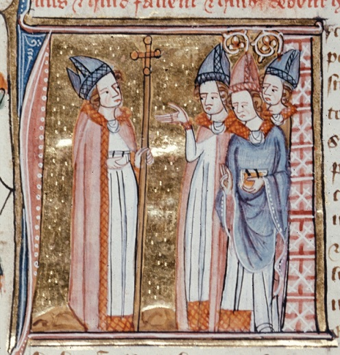 Miniature of archbishop and bishops, BL Royal MS 6 E VI f.145