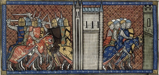 Image showing Battle of Roche-aux-Moins, from BL Royal MS 16 G VI f.385