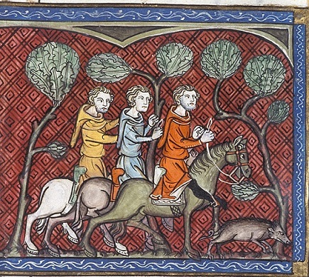 A boar hunt, BL Royal 16 G VI f. 330v