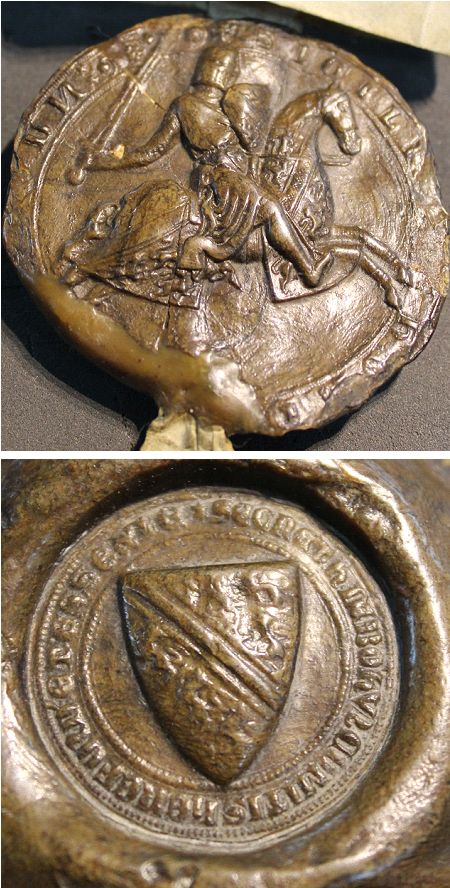Seal of Humphrey (III) de Bohun (d.1298), from 1270s, showing him as mounted warrior with arms of a bend between ?two lions rampant (obverse) and a shield of arms of a bend cotised between six lioncels (reverse)