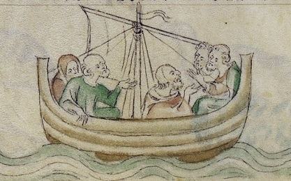 Ship at Sea, BL Royal MS 2 B VII f.110v