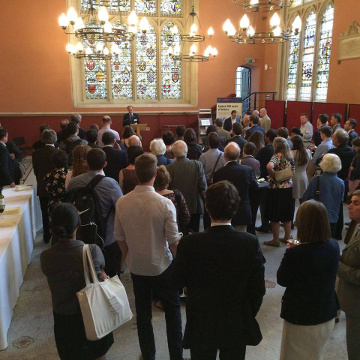 Professor Daniel Power opened the prizegiving with a eulogy for Sir James Holt