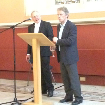 Professor George Garnett (left) and Professor John Hudson (right), editors of the third edition of Holt's Magna Carta, launched at the reception
